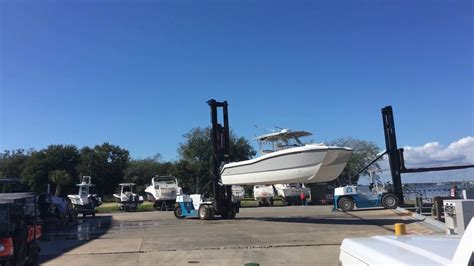 boat lift truck prowler 31 boat launched with fork lift at marina youtube