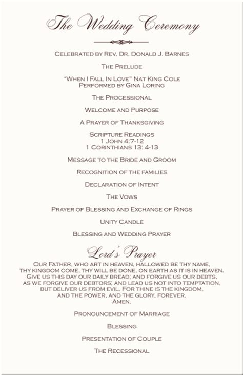 wedding programs wedding program wording program sles