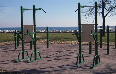 outdoor pull up dip station exercise with a view
