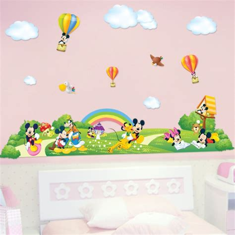mickey mouse wall stickers mickey mouse fairyland wall sticker baby room large poster wallpaper wall decal