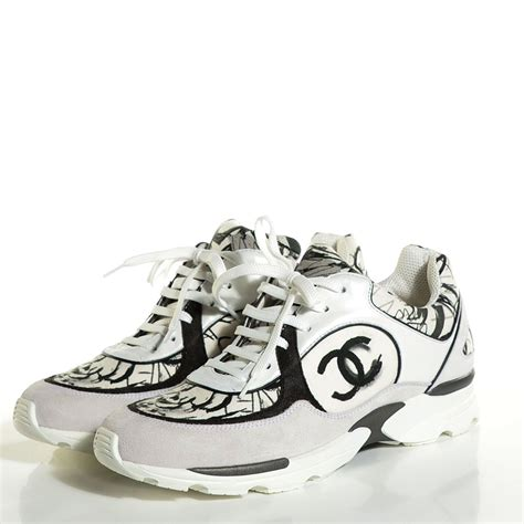 white chanel sneakers chanel suede calfskin cc sneakers 39 5 white black 105747