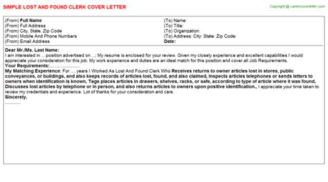 appreciation letter lost and found lost and found clerk cover letter