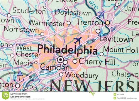 philadelphia on the map of usa philadelphia on the map stock image image of paper