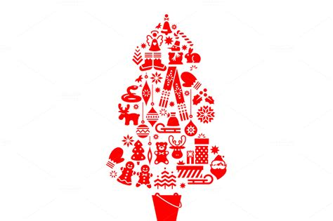 christmas tree illustration icons illustrations on
