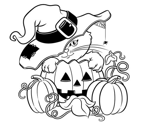 coloring page halloween cat halloween colorings