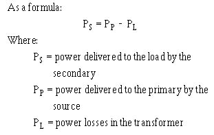 power loss in resistor formula power relationship between primary and secondary windings