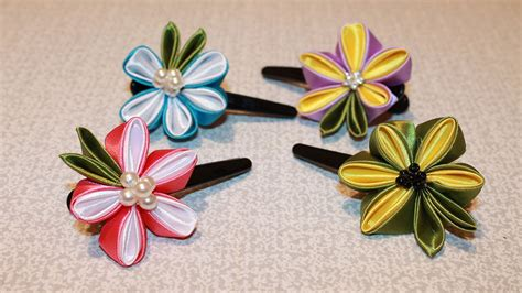how to make kanzashi diy kanzashi flower hair clip kanzashi flower tutorial