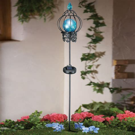 Solar Powered Garden Decor Blue Mosaic Solar Powered Garden Stake Light Yard Lawn Outdoor Decor Ebay