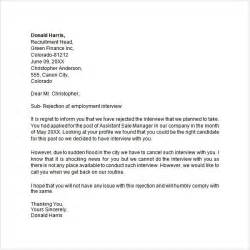candidate template application rejection letter exles