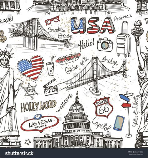 sketch new pattern new york doodle seamless patternusaamerican travel stock