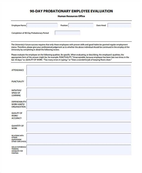 29 Sle Employee Evaluation Forms 90 Day Review Template