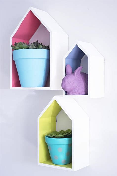 painted house wall shelves project by decoart