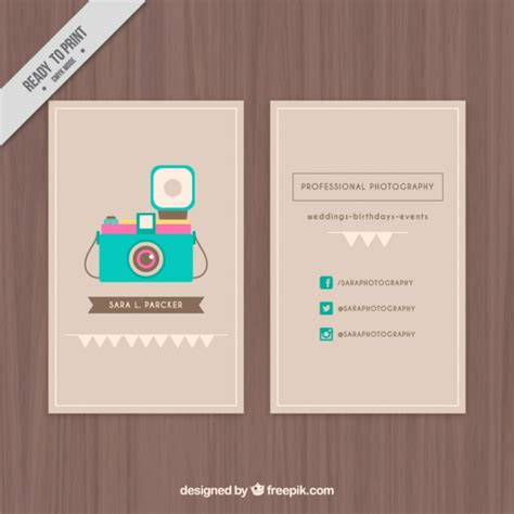 cute business card with an illustrated camera vector
