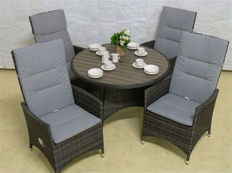 reclining garden furniture sunset 4 chair reclining set with 110cm polywood table