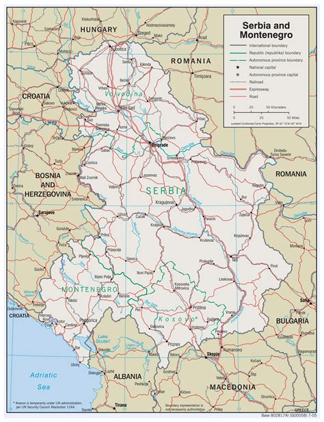 map of serbia large detailed political map of serbia and montenegro with roads and major cities 2005