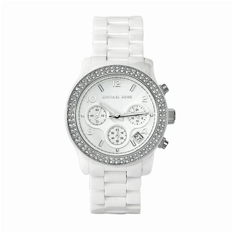 Michael Kors Ladies White Ceramic Bracelet Chronograph Designer Watch MK5188   eBay