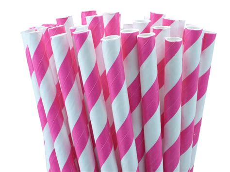How To Make Paper Straws - 24 pink paper straws striped paper straws for
