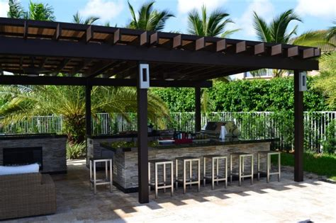 pergola outdoor kitchen turn your backyard into inviting spot just with these