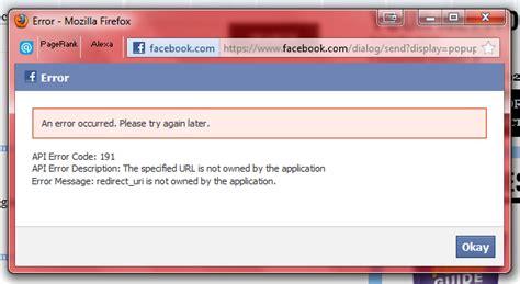 ui pattern error messages facebook fb ui puzzle inconsistent error code 191