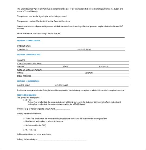 sponsor agreement template sponsorship agreement template 10 free word pdf