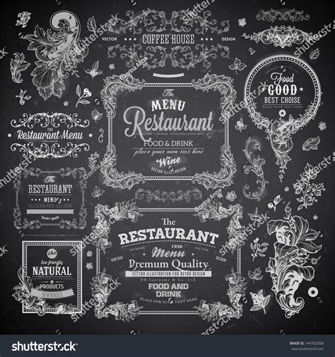 vintage menu design elements vector set retro set labels restaurant menu design stock vector