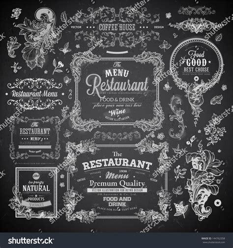 vintage menu design elements vector retro set labels restaurant menu design stock vector