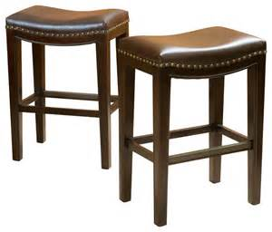 Backless Counter Height Bar Stools Jaeden Backless Stools Set Of 2 Brown Leather Counter