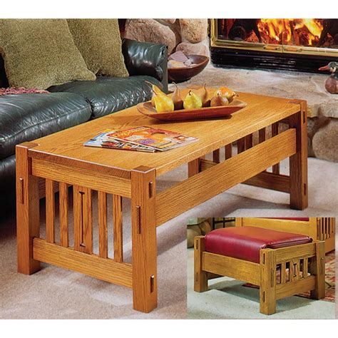 Arts And Crafts Coffee Table And Ottoman Woodworking Plan Arts And Crafts Coffee Table