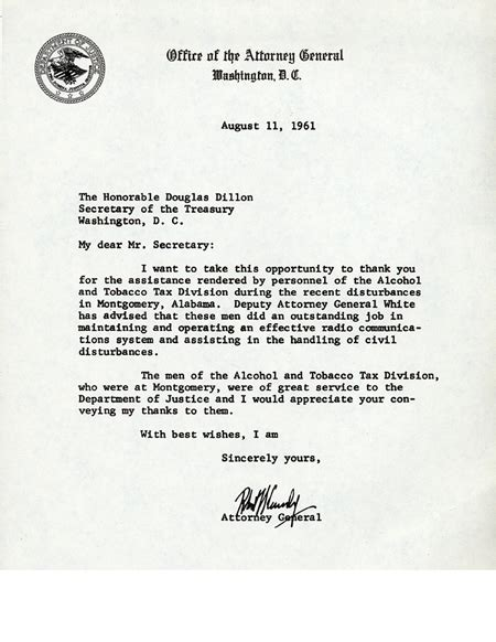 Letter Service Bureau letter of thanks from attorney general robert kennedy