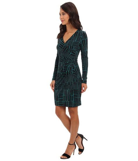 Dress Of The Day Printed Matte Jersey Wrap Dress by Calvin Klein Matte Jersey Printed Wrap Dress In Green