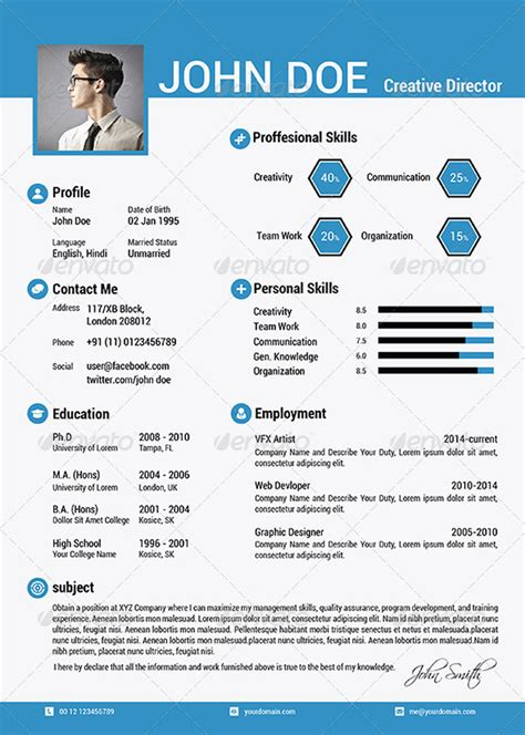The Best Resumes Examples by 25 Attractive Print And Resume Templates
