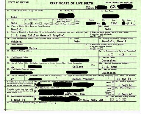 Hawaii Birth Certificate Records Birth Certificate Obama Conspiracy Theories