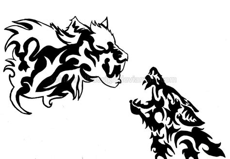 White And Black Wolf Tattoo Design By Sohla Wolf Design On Black Wolf Designs
