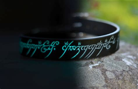 glow in the collar glow in the leather collar with the one ring elvish script