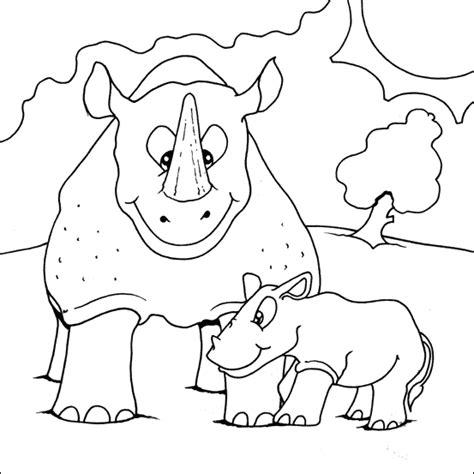 baby rhino coloring page baby rhino coloring