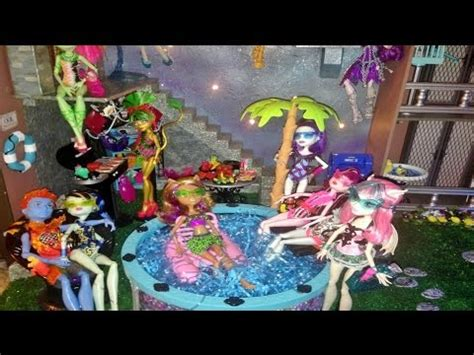 monster high doll house tours courtyard pool monster high doll house tour room 13 of 40 with all justice beasties
