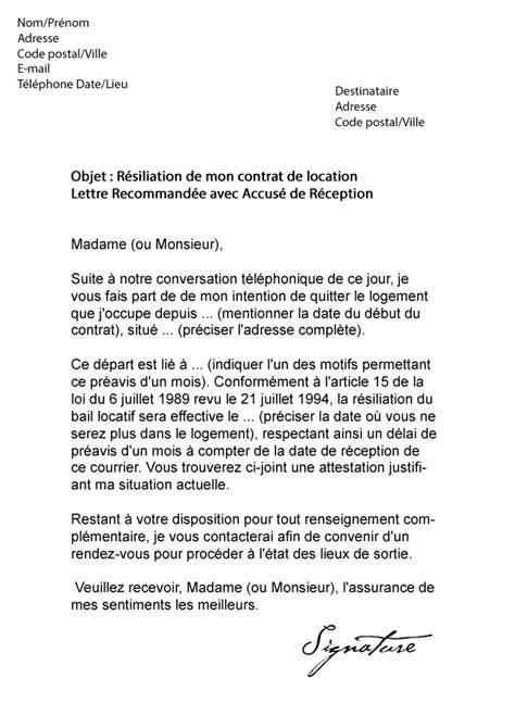 Modification Demande De Logement Social by Lettre De R 233 Siliation Bail 1 Mois De Pr 233 Avis Mod 232 Le De