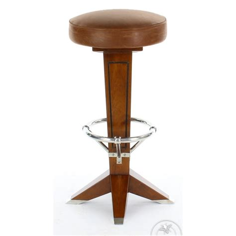 Wood And Leather Bar Stools by Vintage Wood And Leather Bar Stool La P 233 Rouse Saulaie