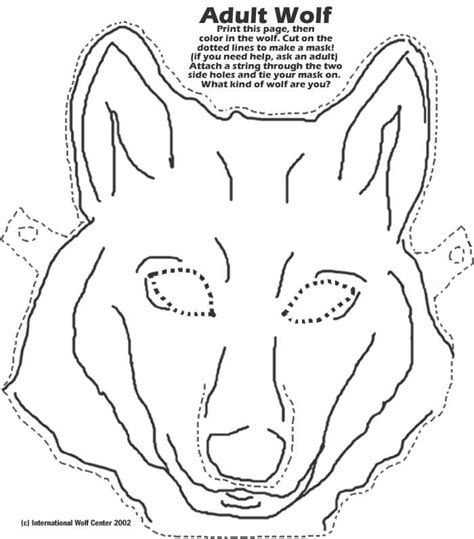 free coloring pages of a wolf mask
