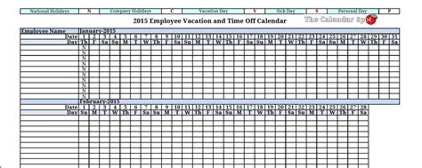 Staff Calendar Template by Excel Vacation Tracking Calendar Template 2016 Calendar