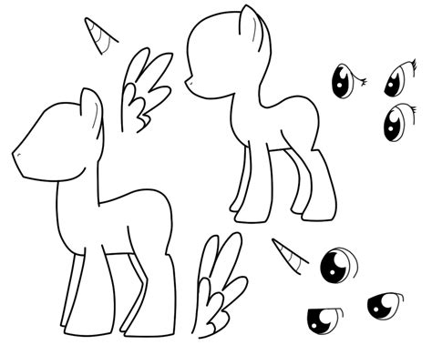 my pony template mlp pegasus standing coloring pages