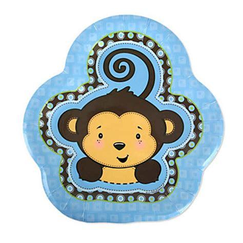 blue monkey boy baby shower dessert plates 8 ct