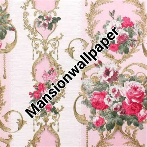 jual terbaruu wallpaper dinding bunga biru gold salur
