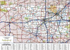 large detailed roads and highways map of oklahoma state