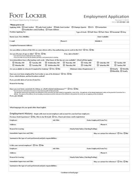 Foot Locker Sales Associate Cover Letter by Retail Application Form 15 Free Templates In Pdf Word Excel