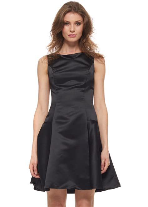 Dress Vic the black dress dress black satin skater dress
