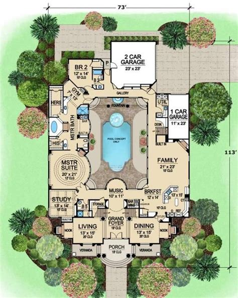 dream house plan pool included from coolhouseplans com pool in the middle of the house is kind of cool the rest