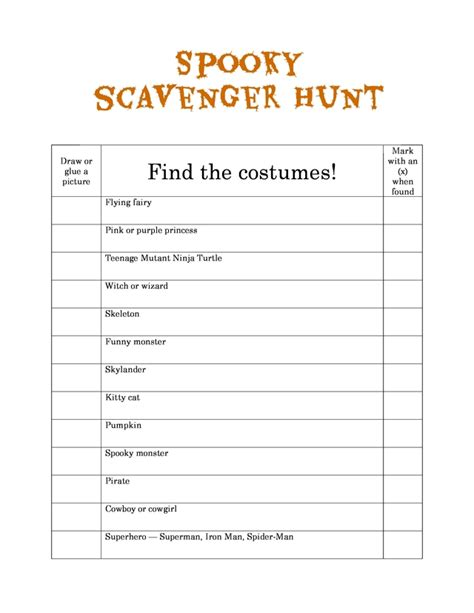 Allparenting Spooky Scavenger Hunt Free Printable Coloring Pages Scavenger Hunt Template