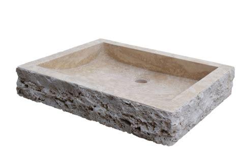 Chiseled Rectangular Natural Stone Vessel Sink
