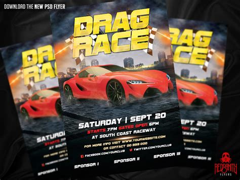 Drag Race Flyer Psd Template By Iamredsanity On Deviantart Free Race Flyer Template